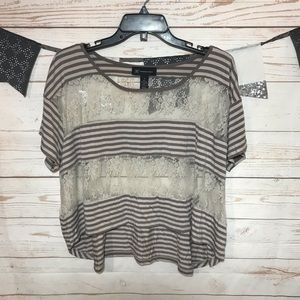 INC Striped Lace High-Low Oversized Crop Top M